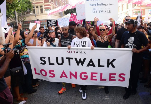 "Amber Rose delivers a very powerful message against Slut Shaming as she hosts a SlutWalk in Downtown Los Angeles, Ca her mother Dorothy was carrying a sign that said ""F#$K Yo 30 Showers"" in reference to the comments that Kanye West made about Amber Pictured: Amber Rose Ref: SPL1129359 031015 Picture by: London Ent/Splash News Splash News and Pictures Los Angeles:310-821-2666 New York: 212-619-2666 London: 870-934-2666 photodesk@splashnews.com"