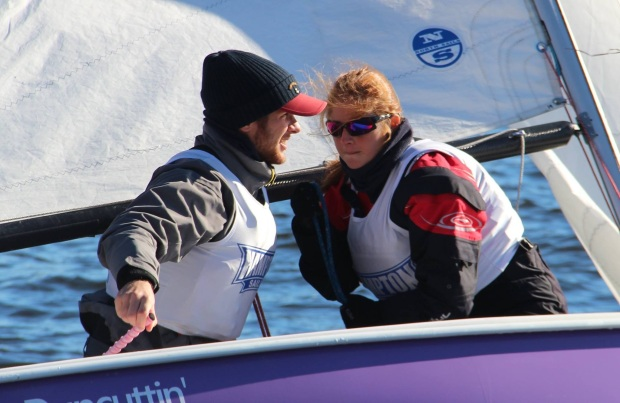 Taglialegne, pictured left, with teammate Elisabeth Kuester, competing at the Atlantic Coast Dinghy Championship on November 13. (Hampton University Athletics)